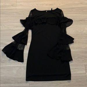 White House Black Market Ruffle Lace Sleeve Dress